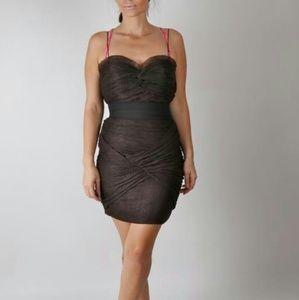 FOLEY CORINNA Brown Spaghetti Strap Dress